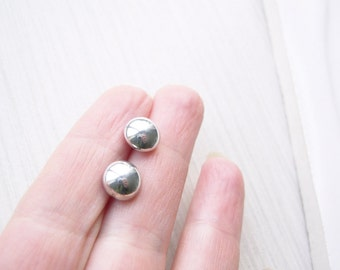 Silver Glass Stud Earrings - Titanium, Nickel Free Posts, Medium Size, Simple Jewelry