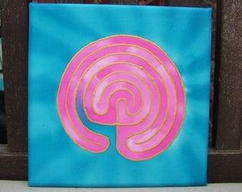 Labyrinth Silk Painting Meditation Mandala  Blue Pink Spiritual Journey
