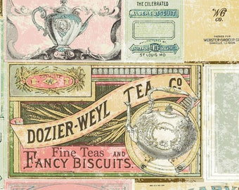 Tea Time by Iron Orchid Designs for Clothworks - Full or Half Yard Vintage Tea Labels in Dusty Pink, Cream, Gold