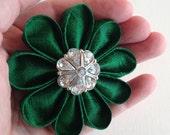 Emerald Green Silk Flower Pin Kanzashi with Sparkling Rhinestone Button - St. Patrick's Day