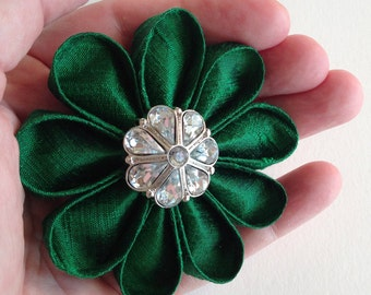 Emerald Green Silk Flower Pin Kanzashi with Sparkling Rhinestone Button - St. Patrick's Day