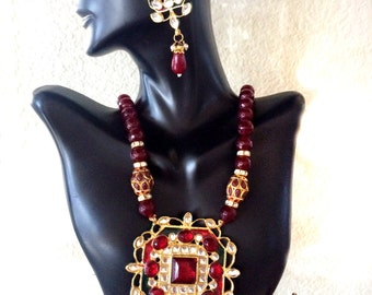 Kundan Necklace and Earrings Set Indian Jewellery red & Gold necklace set,ethnic jewelry by Taneesi