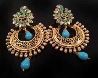Kundan Gold Chandelier earring,Mughal kundan earrings,Turquoise Royal Chandbali Earrings,Indian Jewellery handmade earrings by Taneesi