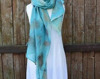 Linen cotton scarf, beach sarong, beach scarf, beach wrap, summer sarong scarf, beach shawl, eco print, medium print