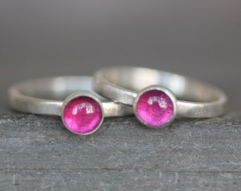 SALE - Ruby Ring - 5mm Gemstone on Sterling Silver Band - READY to SHIP - Size 4.75, 5, 6.75, 7