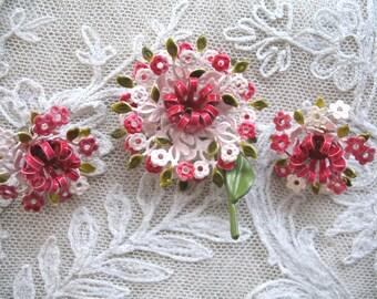 Vintage Enamel Flower Earrings & Brooch ~ Pinks ~ Clip On
