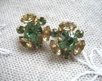 Vintage Rhinestone Earrings ~ Clip On ~ Green & Yellow Rhinestones ~ Beau Jewels