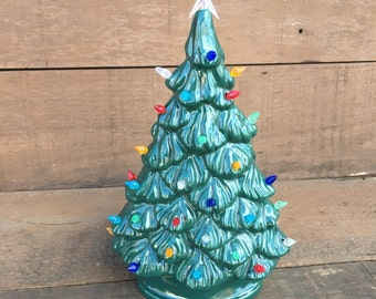 Vintage Style Ceramic Christmas Tree with Lights - Handpainted Dark Wintergreen Lights - Shelf Style - Ready to Ship - #6