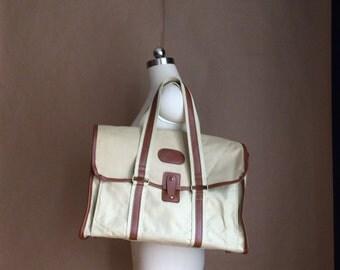 WEEKEND SALE! vintage 1970's canvas tote / handbag / purse / vinyl accent trim / two tone / retro prep