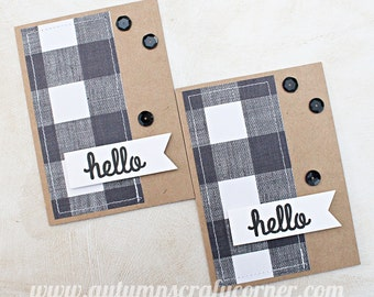 Hello - Just Because - Homemade Card - Set of 2 - SEWN