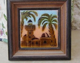 Vintage Colorful Enamel on Copper Tile of Jerusalem Hand Painted in Israel Judaica