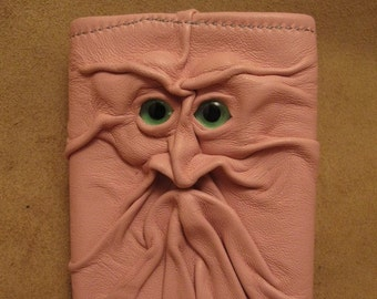 Grichels leather tri-fold wallet - light pink with custom green eyes