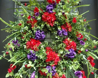 Front Door Wreaths, Spring Wreath, Summer Wreath, Spring Wreath Decor, Hydrangea Wreath, Red Wreaths, Geranium Wreath