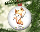 baby's first christmas ornament - fox christmas ornament for kids - keepsake ornaments - baby 1st Christmas ornament - ORN-PERS-3