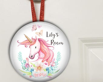 Unicorn decor for girls room - Unicorn door hanger - unicorn gifts for girls - personalized baby girl gifts - door knob hanger HAN-PERS-11