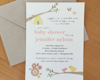 Gender Neutral Baby Shower Invitation in Bird, Bees and Butterfly Design - Woodland Baby Shower Invitations
