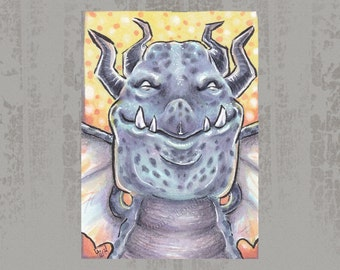 Smirking dragon - Original ACEO, Copic marker drawing