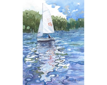 """Sailboat Watercolor Painting - Fine Art Archival Print - """"Summer is for Sailboats"""" - Limited Edition Seacape Art by Laura D. Poss"""