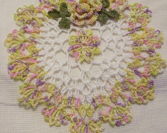 crocheted heart doily pastels and white  handmade