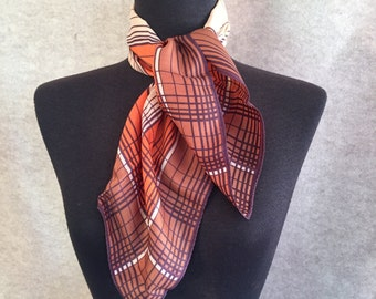 Vintage 70's Scarf, Plaid, Brown, Rust Geometric Design, Medium Size