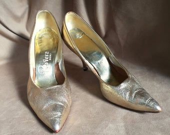 Vintage 60's Stiletto Pumps, Size 8.5, Metallic Gold Pointy Toe High Heel, Rockabilly 50's Pin Up