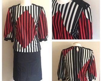 Red, White, and Blue Geometric Dress // Plus Size Dress // Vintage Dress