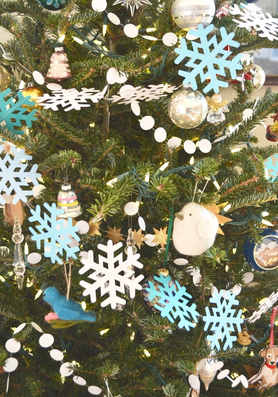 Icy Snowflake Garland - extra large frozen snowflake banner, 10 feet long