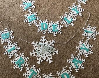 Snowflake themed birthday banner