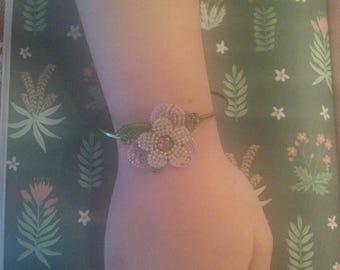 Vintage 192Os Flower Clusters. vintage jewelry assemblage elastic bracelet