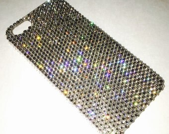 For iPhone SE 5 5S - Small 12ss Silver Shade Crystal Diamond Rhinestone BLING Back Case handmade with 100% Swarovski Elements