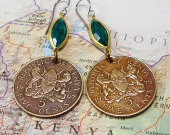 Kenya, Vintage Coin Earrings --- All for One --- Harambee - African Culture - Salvage - Repurpose - World Traveller - Be a Traveler - Afrika