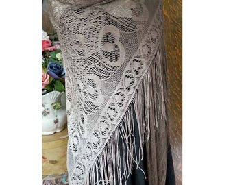 Long Fringe Lace Shawl - Evening Wrap