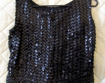 VintageBlack Sequin Top/Shell by Reva Blouses, San Francisco