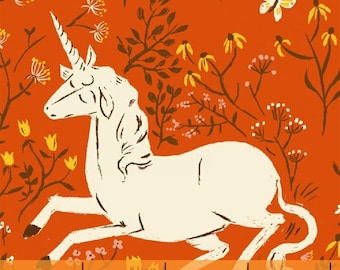 END of BOLT -  Far Far Away Unicorns in Orange 1 yards and 7 inches - by Heather Ross for Windham Fabrics
