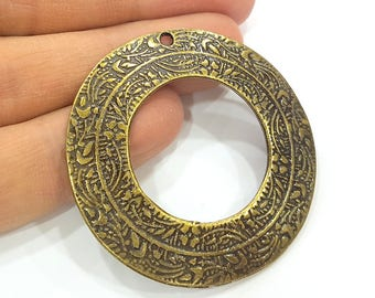 Antique Bronze Circle Pendant Antique Bronze Round Pendant (49mm) G7363