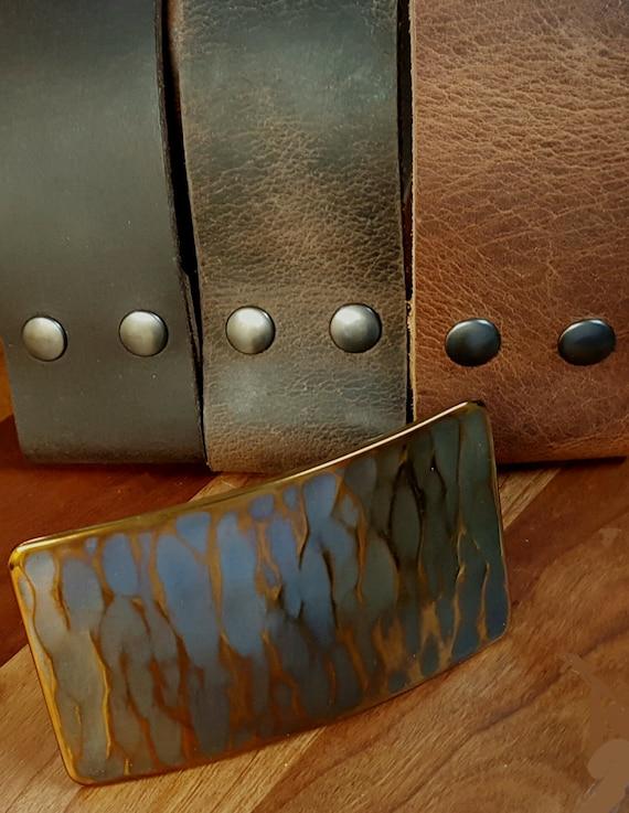 "SET Copper Gold Patina Molten Hand Forged Stainless Steel Hypoallergenic Belt Buckle & 1.75"" Belt w/ Snaps Interchangeable ~ Custom Cut Belt"