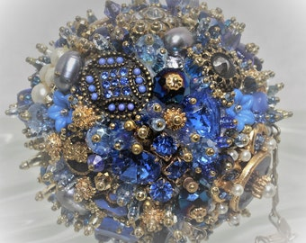 Bejeweled Ornament Bright Blue Goldtoned Art Piece OOAK Vintage Jewelry Rhinestones