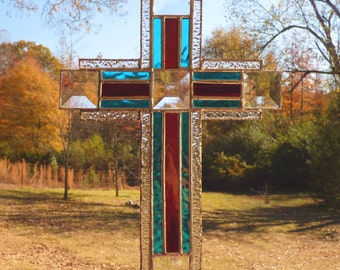 Stained Glass Cross / Crucifix - Clear Texture Suncatcher