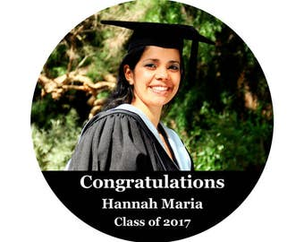 Graduation Photo Labels Class of 2017 Custom Personalized - 100 GLOSSY Round Stickers