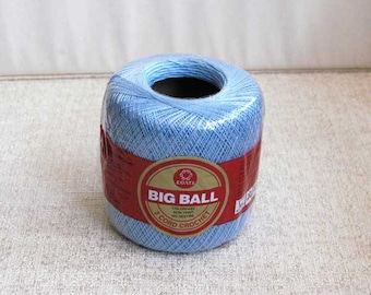 Destash Crochet Thread, Coats Big Ball Cotton Thread, Size 20, Delft Blue Color, 350 Yards, New Old Stock, Made in USA, Factory Sealed