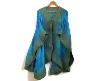nuno felted silk poncho, green, blue shawl, wrap, hand dyed