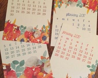2017 Floral Desk Calendar, Floral Calendar, Gift Calendar, Teacher Calendar, Flower Calendar