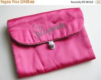 HOLIDAY SALE Vintage 50s Shocking Hot Pink Satin Schiaparelli Lingerie Stocking Jewelry Nylon Hosiery Bag