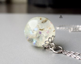 925 Sterling Silver Necklace, Glitter and dandelions in a resin