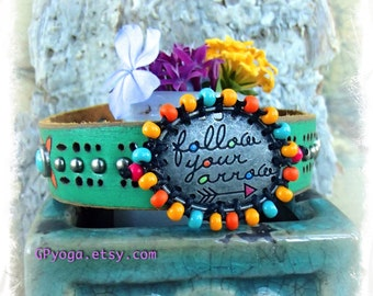 DHARMA Cuff Green Turquoise leather BRACELET Tribal Arrow Message jewelry colorful beaded studded Bracelet Boho Inspirational jewelry GPyoga