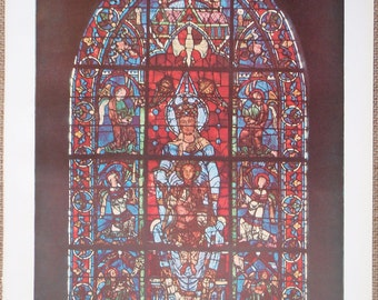 Vintage French original book print Stained Glass Window in Cathedrale of Chartres 'Vitraux' Larousse Universel Published 1933