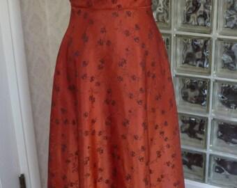Vintage 60s Rust Satin Black Brocade Draped Neck Wide Sweep Tea Skirt XXL 2XL