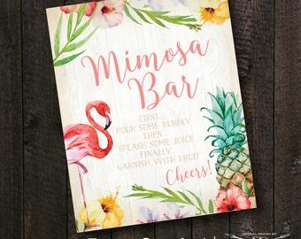 Tropical Mimosa Bar Sign | Flamingo Shower Sign | Printed Invite or Printable Digital File | Flamingle Shower Sign | Tropical Bridal Shower