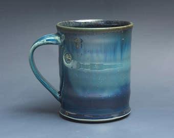 Pottery coffee mug, ceramic mug, stoneware tea cup navy blue 16 oz 3917