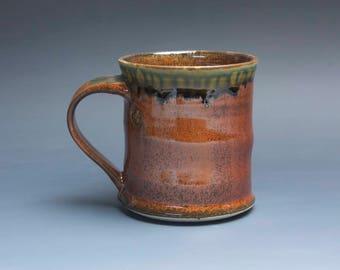 Handmade pottery coffee mug, ceramic mug, stoneware tea cup 14 oz mug deep glossy tangerine red flake  3937